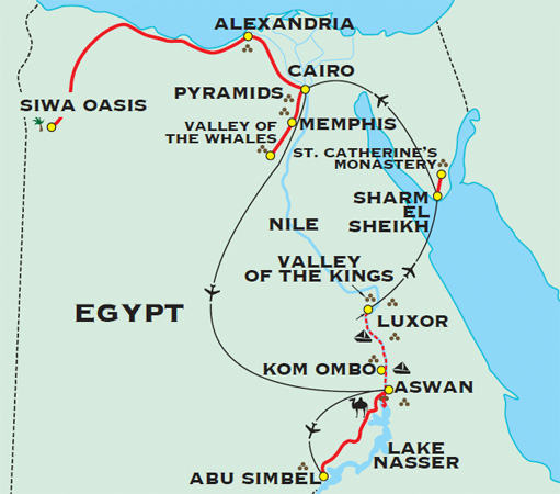 Egypt Adventure Travel For Plus - Map of egypt pyramids and sphinx