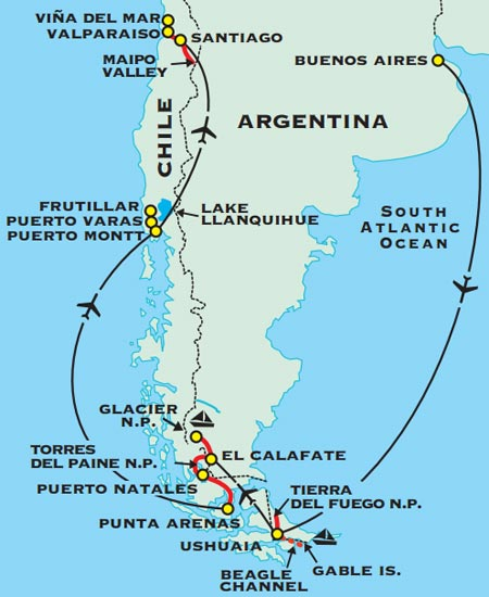 Argentina Chile Adventure Travel For Plus - Argentina highlights map